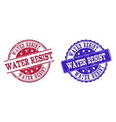 Grunge scratched water resist stamp seals vector