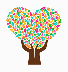 Hand tree concept color heart shape vector