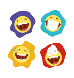 Happy april fools day card with bundle emojis vector