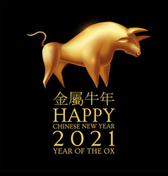 happy chinese new year 2021 the year metal vector image