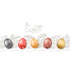 happy easter greeting card easter eggs 3d and in vector image