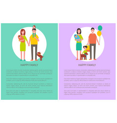 happy family poster togetherness and love concept vector image