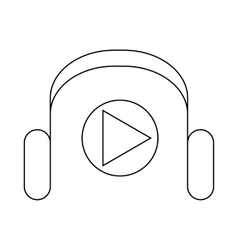 Headphones and media player icon outline style vector