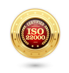 iso 22000 certified medal - food safety management vector image