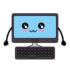 Kawaii computer icon vector