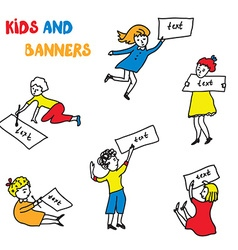 Kids and banners sketches set vector image