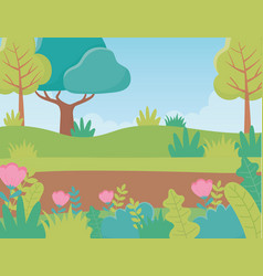 Landscape trees path flowers foliage nature vector