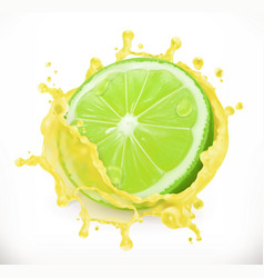 lime juice fresh fruit 3d icon vector image