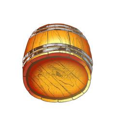lying retro drawn wooden beer keg barrel color vector image