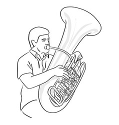 man playing tuba sketch doodle hand vector image