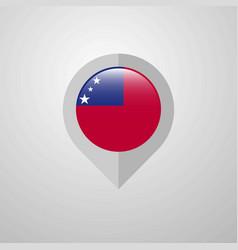 Map navigation pointer with samoa flag design vector