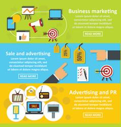 Marketing tools banner horizontal set flat style vector