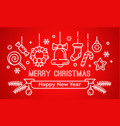 merry christmas and happy new year banner outline vector image