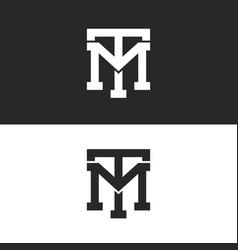 monogram hipster initials tm logo letters set vector image