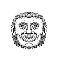 neanderthal male head doodle art vector image