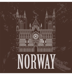 Norway landmarks Retro styled image vector