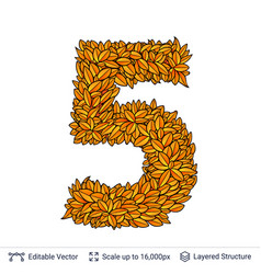 Number five of autumn leaves vector