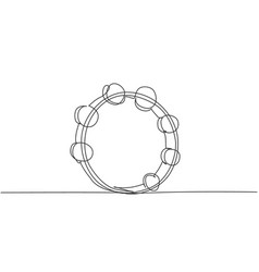 One continuous line drawing round circle vector