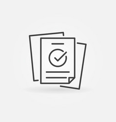papers with checkmark linear concept icon vector image