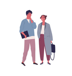 pensive guy and smiling girl in stylish outfit vector image