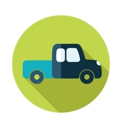 Pickup truck flat icon with long shadow vector image