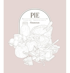 Pie ingredients Vintage Sketch vector image