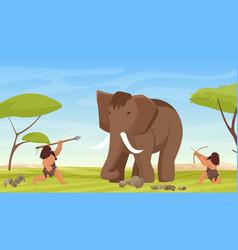 primitive caveman people hunt ancient woolly vector image