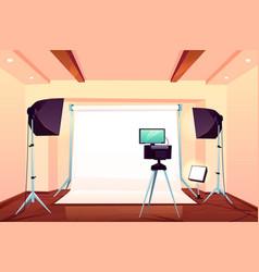 professional photo studio interior cartoon vector image