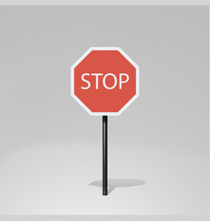 Red color stop road sign on white vector