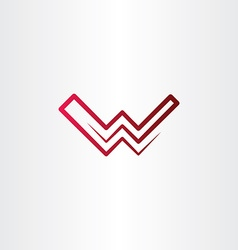 red letter w logo line icon symbol vector image