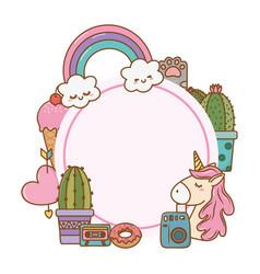 round frame cartoon decoration vector image