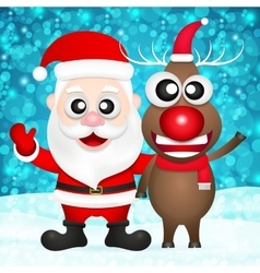 santa claus and red nosed reindeer vector image
