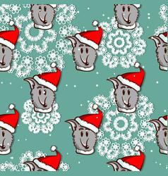 santa dog seamless pattern vector image