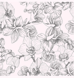 seamless pattern hand drawn outline bouquet with vector image