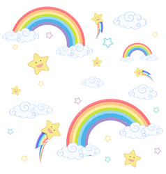 seamless rainbow with smile star on white vector image