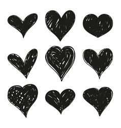 Set black grunge hearts vector
