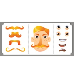 Set ginger mustache vector