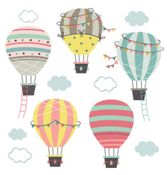 set isolated hot air balloons part 2 vector image