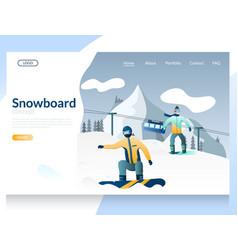 snowboard website landing page design vector image
