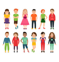 Standing boys and girls vector