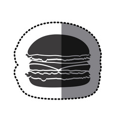 sticker shading monochrome hamburger food icon vector image