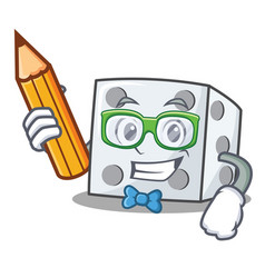 Student dice character cartoon style vector