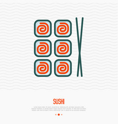 sushi with chopsticks thin line icon vector image
