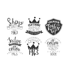 Tailor shop premium retro labels set handcrafted vector