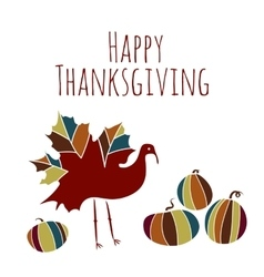 thanksgiving ethnic maple turkey pumpkin doodle vector image