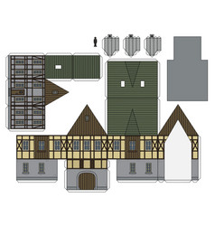 The paper model of a historical house vector