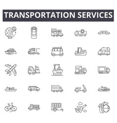 transportation services line icons for web and vector image
