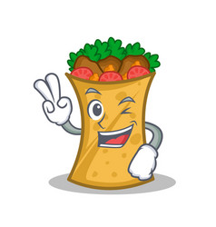 Two finger kebab wrap character cartoon vector