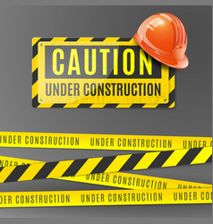 under construction realistic poster vector image