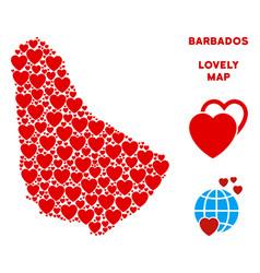valentine barbados map mosaic of hearts vector image
